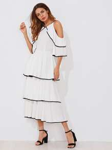 Contrast Binding Open Shoulder Tiered Flounce Dress