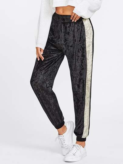 Contrast Panel Side Crushed Velvet Sweatpants