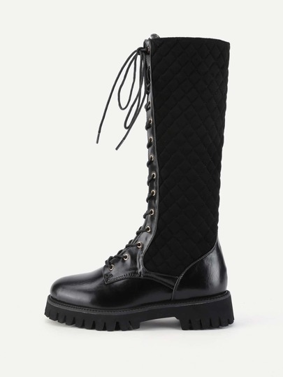 Quilted Design Lace Up Calf Length Boots