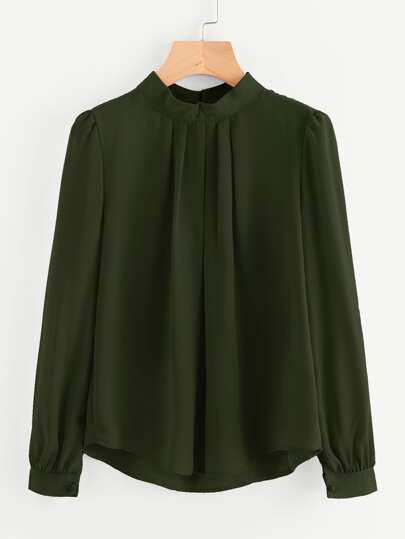 Mock Neck Pleated Detail Chiffon Blouse