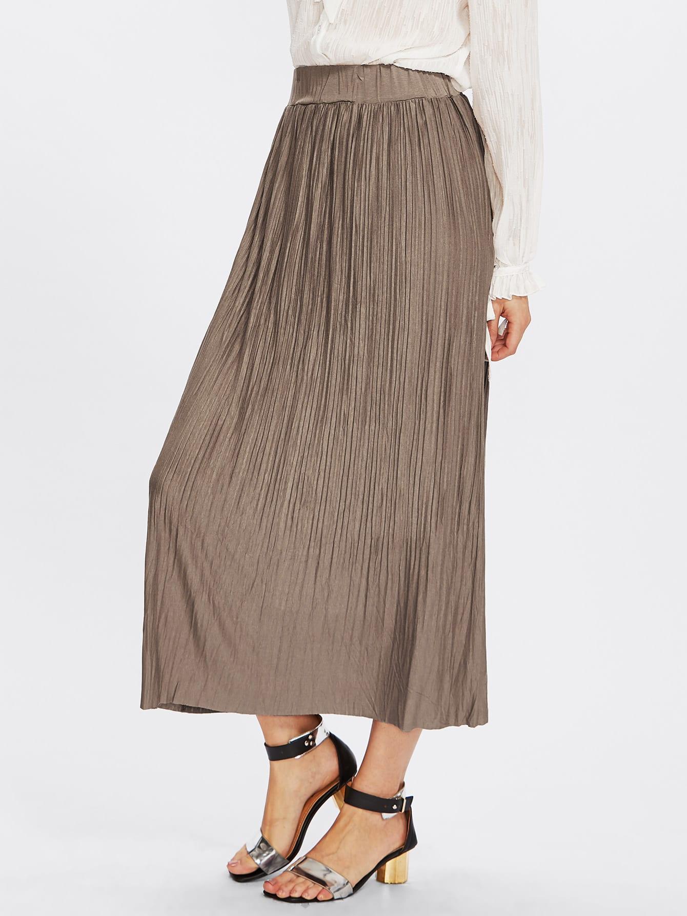 b4c51fb290 Crinkle Elastic Waist Full Length Skirt   SHEIN