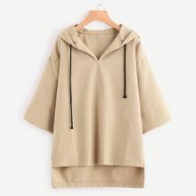 SHEIN | Hooded Drawstring Dip Hem Woollen Blend Sweatshirt | Goxip