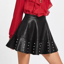 - Pearl Embellished Raw Hem Flared PU Skirt