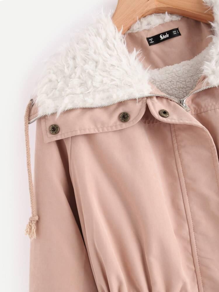 fb93382fcc Fleece Lined Pocket Front Drawstring Parka Coat | SHEIN