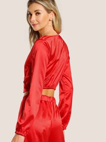 d0212009dc372 Front Cross Long Sleeve Satin Crop Top RED