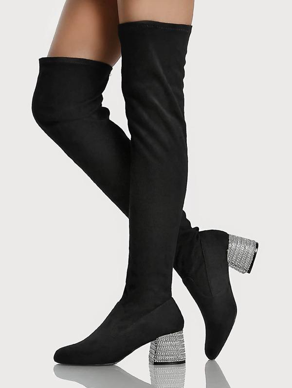 Diamond Studded Heel Boots BLACK  f83dfd7ab216