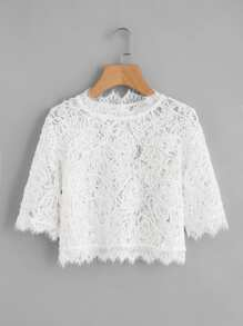 Semi Sheer Eyelash Lace Crop Top