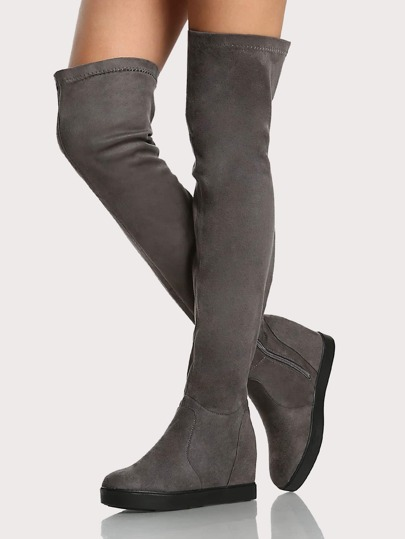 Flat Zip Up Thigh High Boots GREY