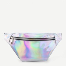 - Iridescent Fanny Pack With Skinny Belt