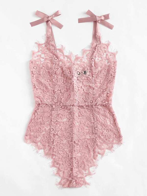 5e5043eb71 Ribbon Tie Shoulder See Though Floral Lace Bodysuit | SHEIN
