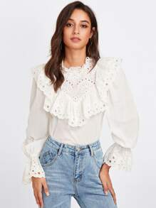 Eyelet Embroidered Ruffle And Bell Cuff Blouse