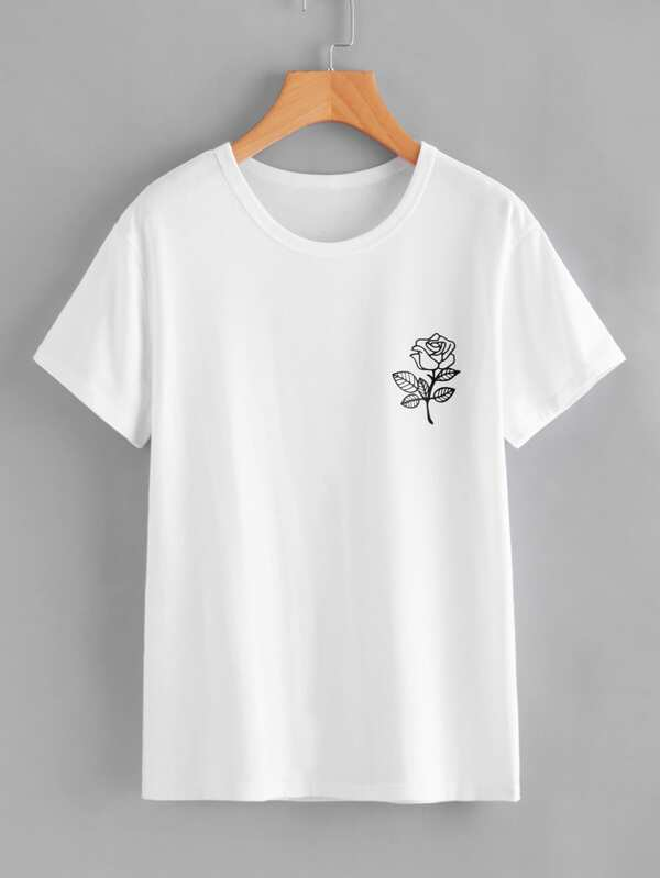 e1b0aca8f5 Rose Print T-shirt   SHEIN