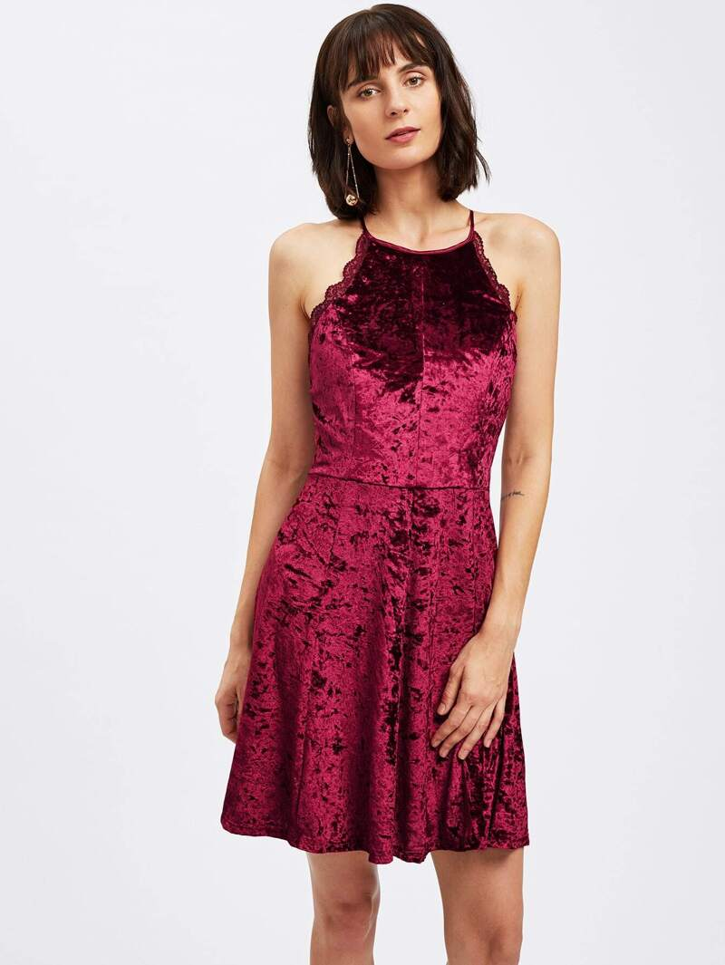 Crushed Velvet Scallop Lace Trim Backless Swing Dress