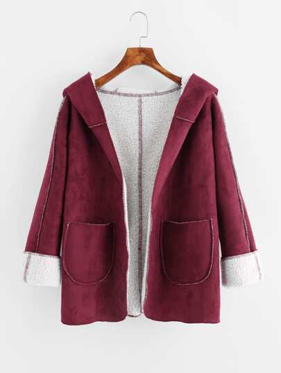 Faux Shearling Lined Hooded Coat