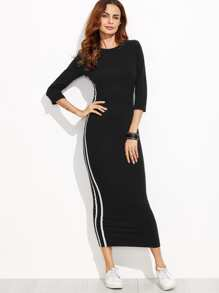 Striped Tape Fitted Long Dress