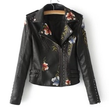 - Flower Embroidery Studded Detail PU Biker Jacket