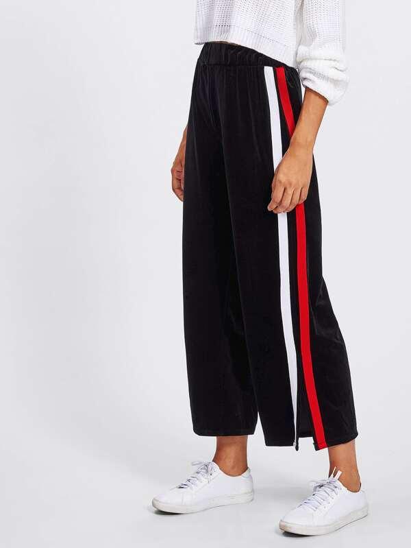 00b3785f5a Split Striped Side Wide Leg Pants | SHEIN IN