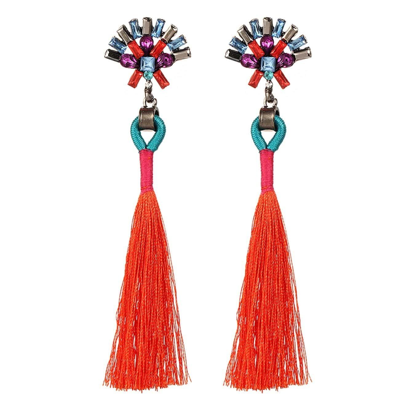 - Tassel Drop Earrings With Rhinestone