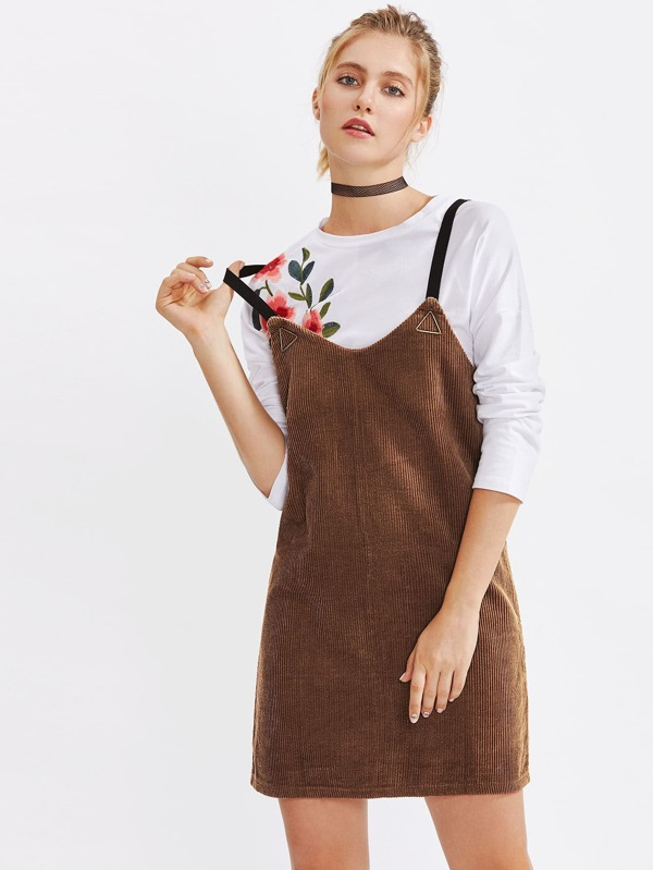 49a4d57a4dc Metal Triangle Detail Corduroy Overall Dress