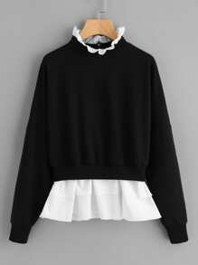 Zip Back Frill Neck And Hem Sweatshirt