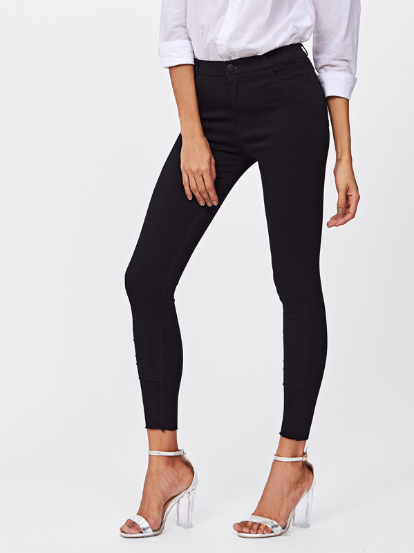 Raw Hem Skinny Jeggings, Black, Laiser