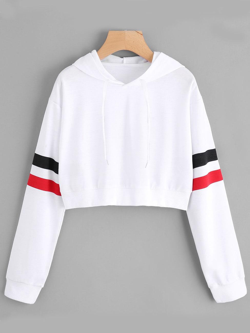 828d4bac43b Drop Shoulder Varsity Striped Hoodie EmmaCloth-Women Fast Fashion Online