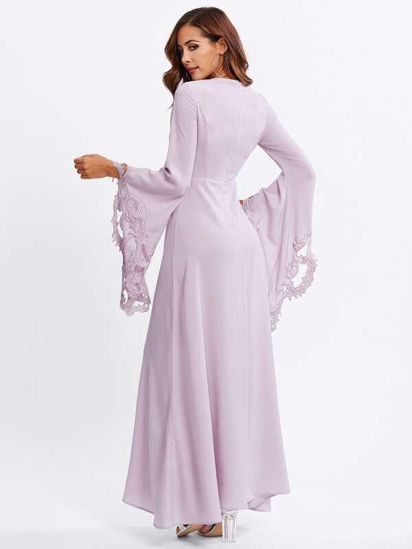 781d9ed406a5d فستان سهرة حجاب و أكمام طويل مقطع و مطرز