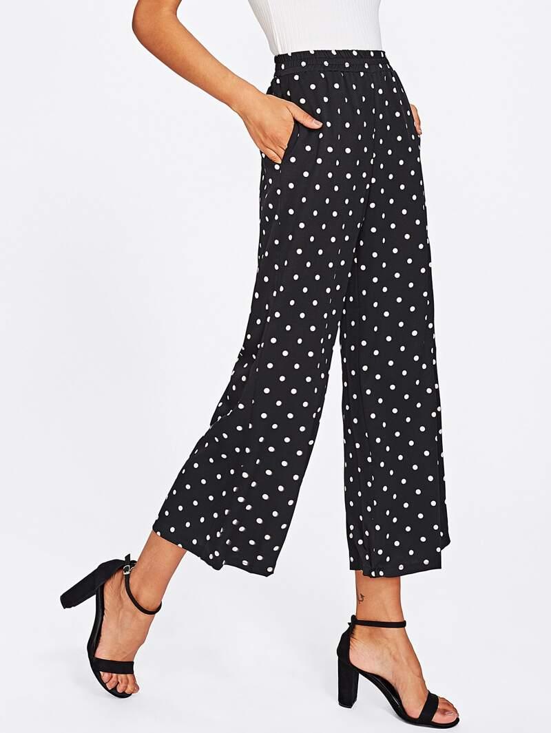 mitad de descuento 05e0e 124e1 Pantalones de pierna ancha con lunares