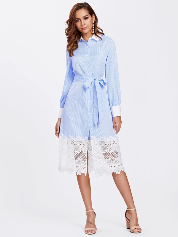 41fc31a97a35 Contrast Trim Lace Hem Pinstripe Shirt Dress | SHEIN