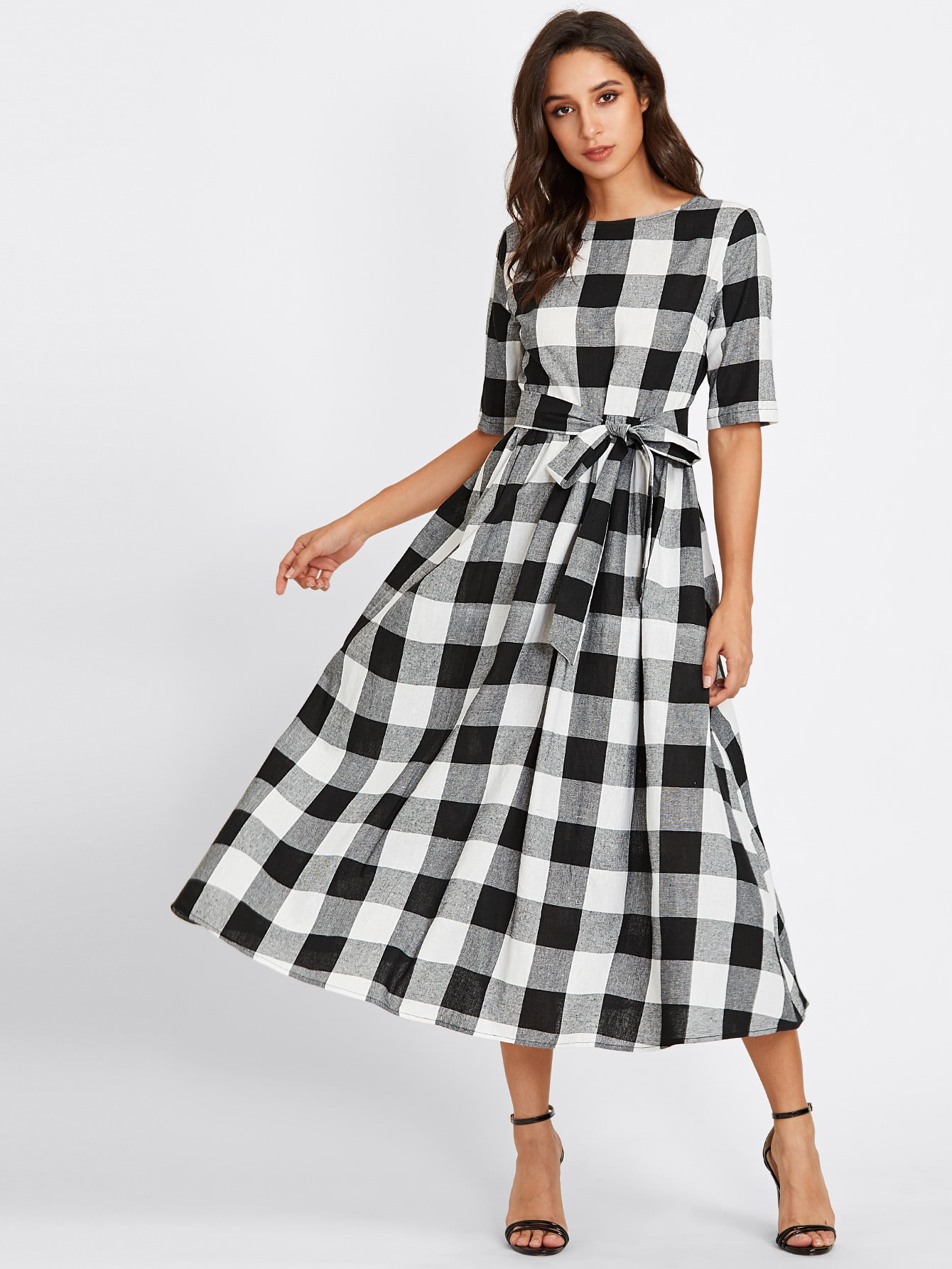 Buttoned Keyhole Self Tie Checkered Dress -SheIn(Sheinside)