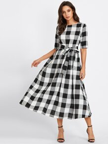 Gingham Buttoned Keyhole Self Tie Dress