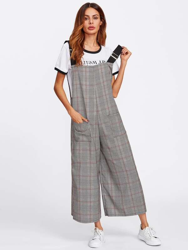 fc7c431b0535 Checked Wide Leg Pinafore Jumpsuit