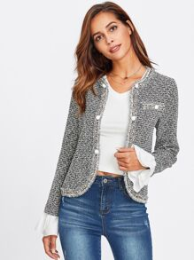 Contrast Ruffle Cuff Curved Tweed Jacket