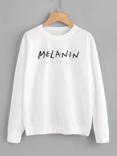 90eb172c6c42cc Home · Clothing · Sweatshirts; Letter Print Sweatshirt