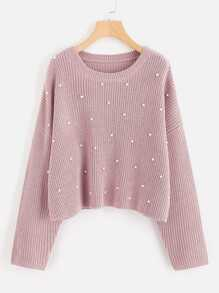 Drop Shoulder Pearl Beading Sweater