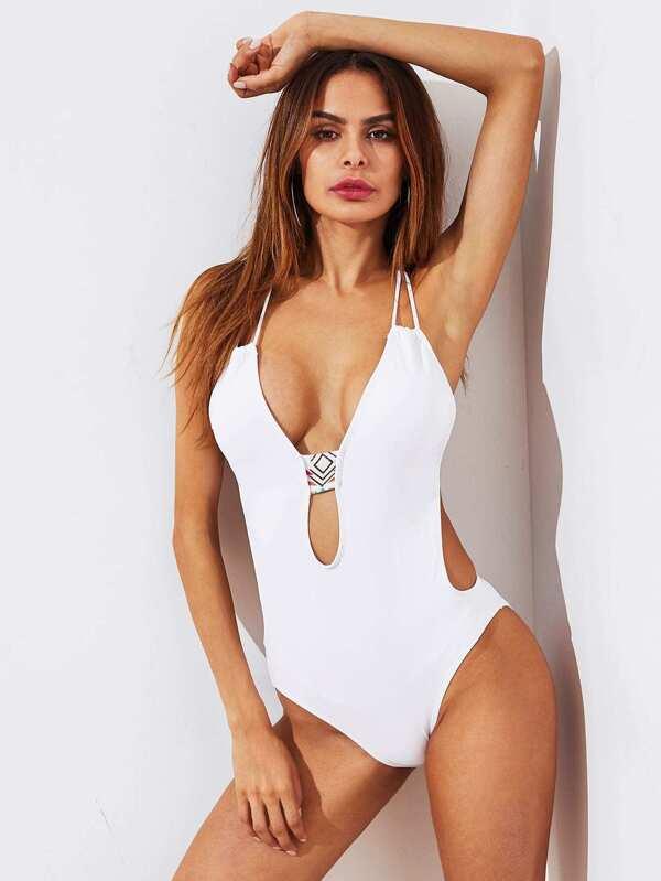 1652d12315 Cheap Plunge Neckline Racer Back One Piece Swimwear for sale Australia |  SHEIN