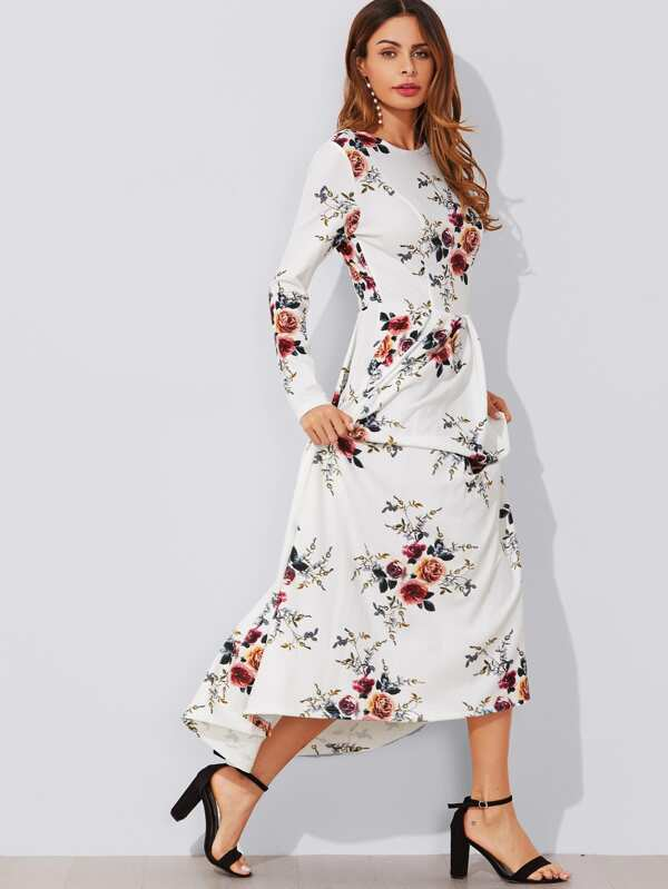 66c041010a Flower Print Box Pleated Maxi Dress | SHEIN UK