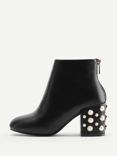 Faux Pearl Back Zipper PU Ankle Boots