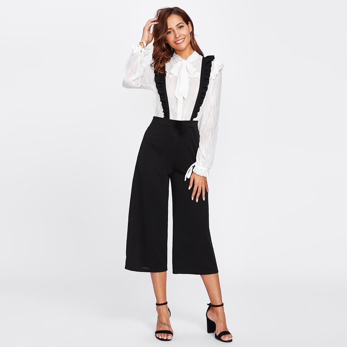 - Crisscross Frill Strap Culotte Pants