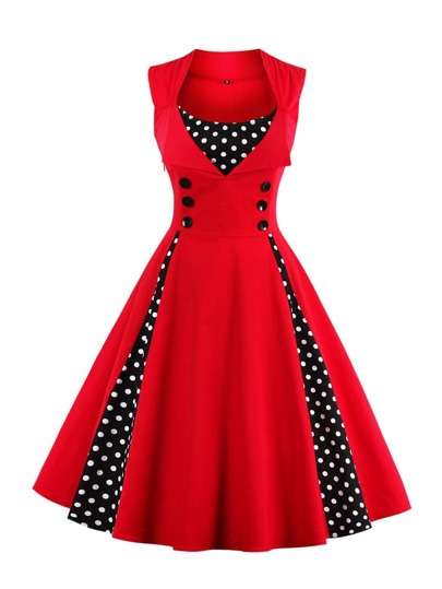 Double-breasted Contrast Polka Dot Flare Dress