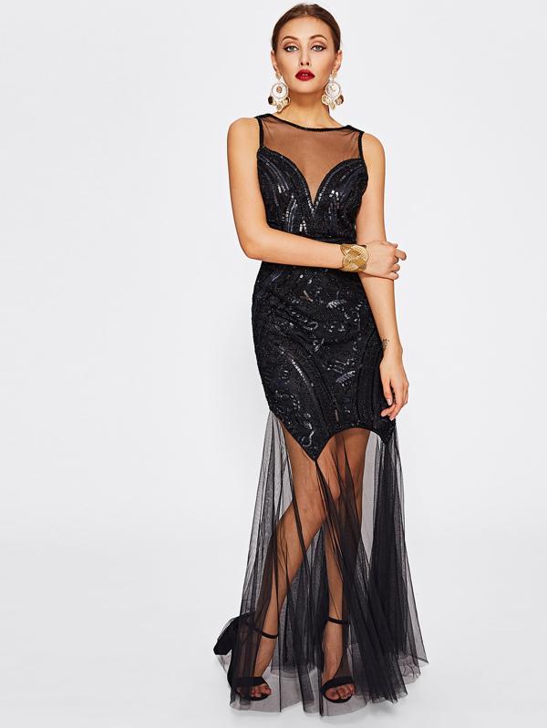 Rückenfreies Pailletten Kleid mit Illusion Ausschnitt und Gitter ...