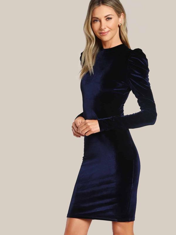 4eb6f73d383 Puff Sleeve Velvet Pencil Dress