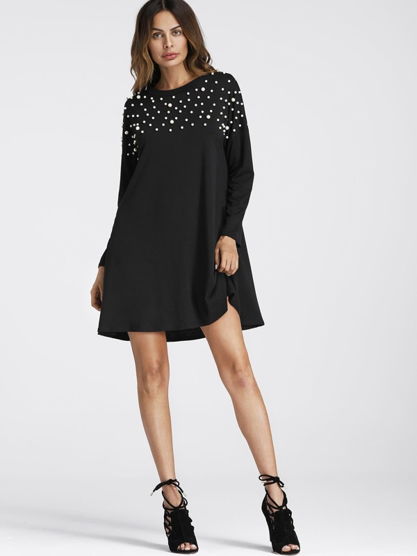 0a8fb1ef29a Pearl Beaded Detail Shift Dress