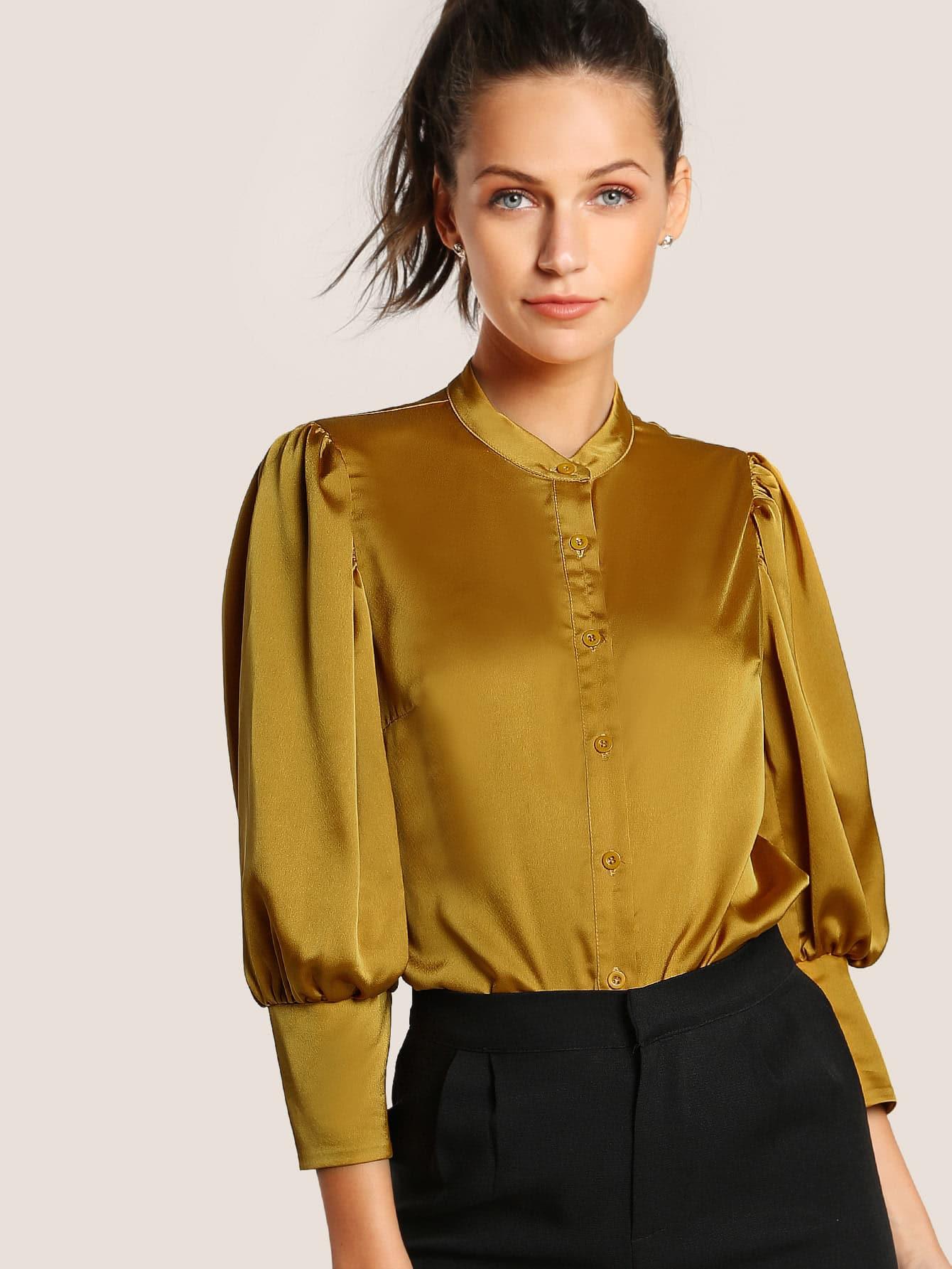 Puff Sleeve Button Through Satin Top Emmacloth Women Fast
