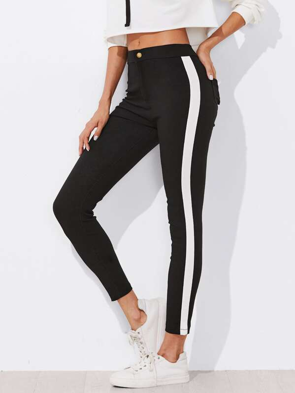 Contrast Panel Side Skinny Ankle Jeans, Black, Andy