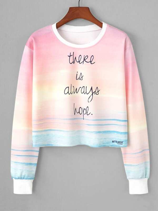 a5264b9f3f Watercolor Slogan Print Crop Sweatshirt -SHEIN(SHEINSIDE)