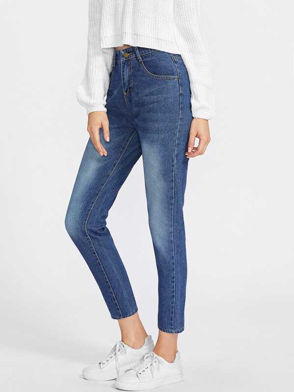 Washed Cropped Mom Jeans, Blue, Dora