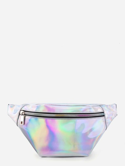 Iridescent Fanny Pack With Skinny Belt