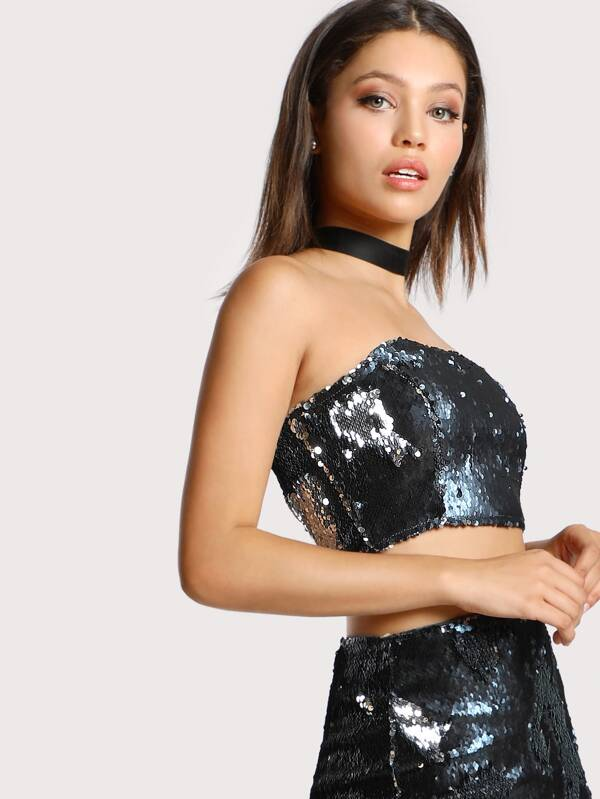 272c922457d36 Strapless Sequin Crop Top NAVY
