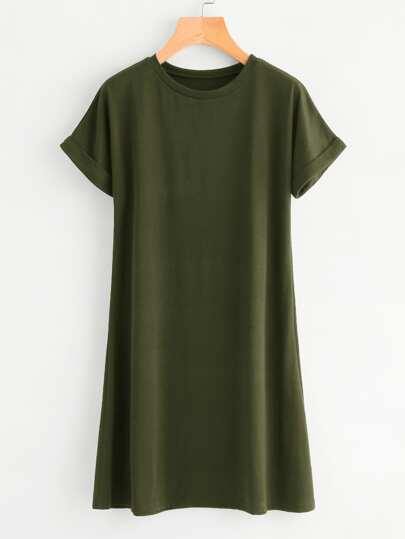 Rolled Sleeve Basic Tee Dress